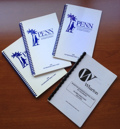 Penn Club of Los Angeles and Wharton Club of Colorado directories found in the Western Regional Office