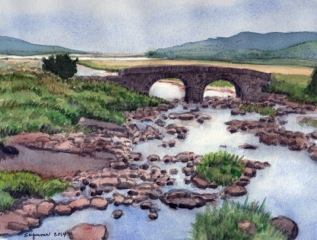 Finally, I chose this old stone bridge, with a very challenging stoney river flowing underneath.