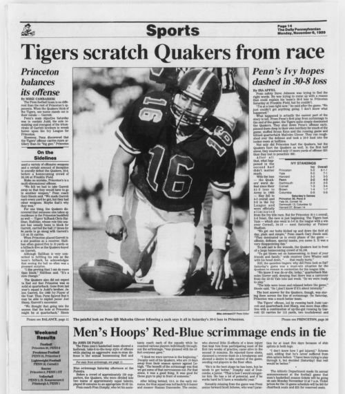 The Daily Pennsylvanian sports page November 6, 1989 Penn loses to Princeton 30-8.