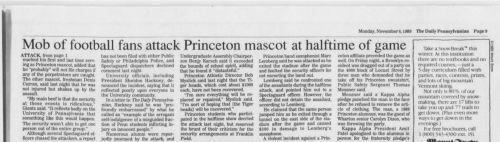 The Daily Pennsylvanian Penn Homecoming 1989 students attack Princeton mascot