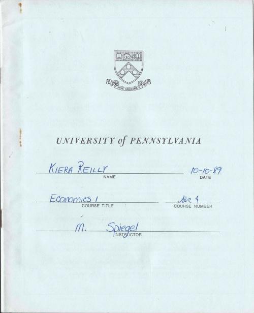 Econ 1 exam blue book from the University of Pennsylvania courtesty Kiera Reilly