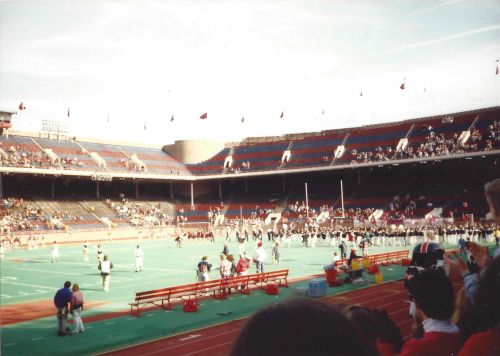 The Penn Band gathers at the far end of Franklin Field to perform during half-time, November 4, 1989.