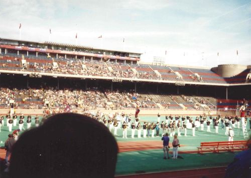 The Penn Band performs on Franklin Field on November 4, 1989, at University of Pennsylvania