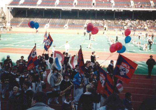 The Penn Band walks to perform at half-time during the Penn-Princeton football game on November 4, 1989.
