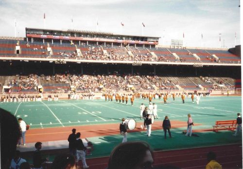 The Princeton Band performs at half-time on Franklin Field, the University of Pennsylvania, November 4, 1989