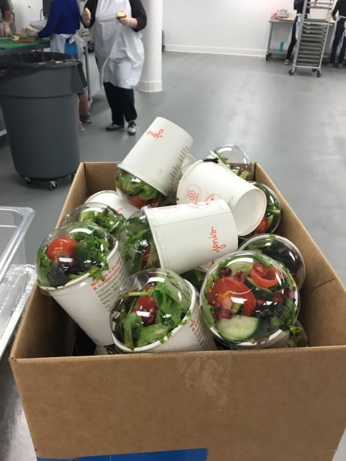Salads prepared by Penn Serves LA volunteers at L.A. Kitchen