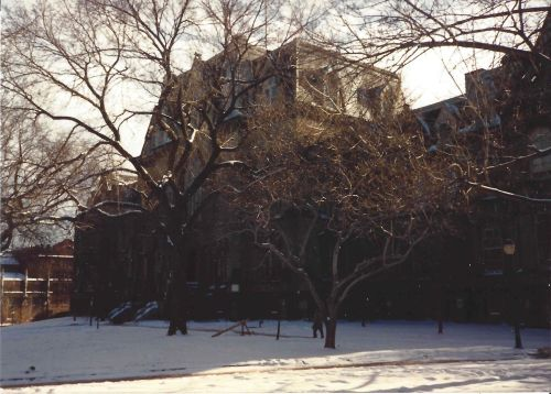 College Green at Penn in the snow, December, 1989