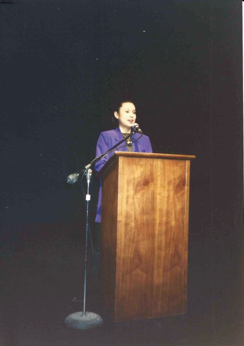 Tony Award-winning actress Lea Salonga speaking at University of Pennsylvania in March 1992
