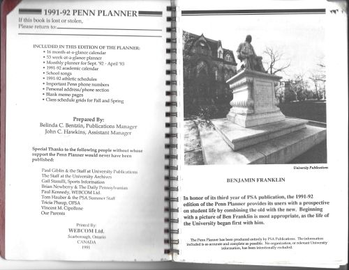 Penn Student Agencies' weekly Penn Planner inside cover page