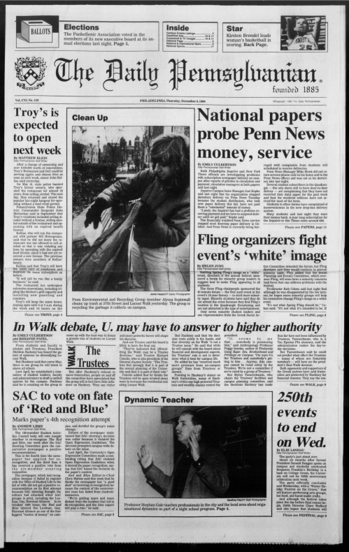 Cover page of the December 6, 1990 issue of The Daily Pennsylvanian
