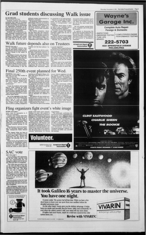 Page 9 from the December 6, 1990 issue of The Daily Pennsylvanian continues articles from the front page on the final 250th event