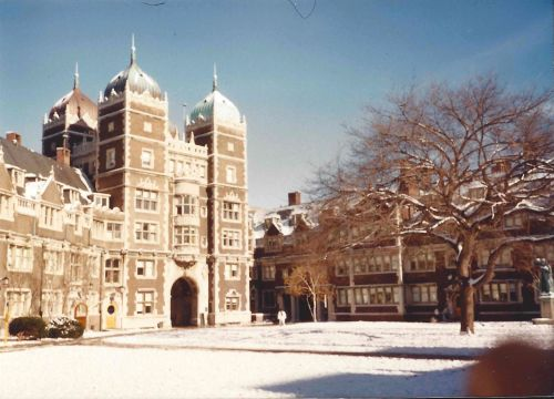 Upper Quad at the University of Pennsylvania in the snow, December, 1989