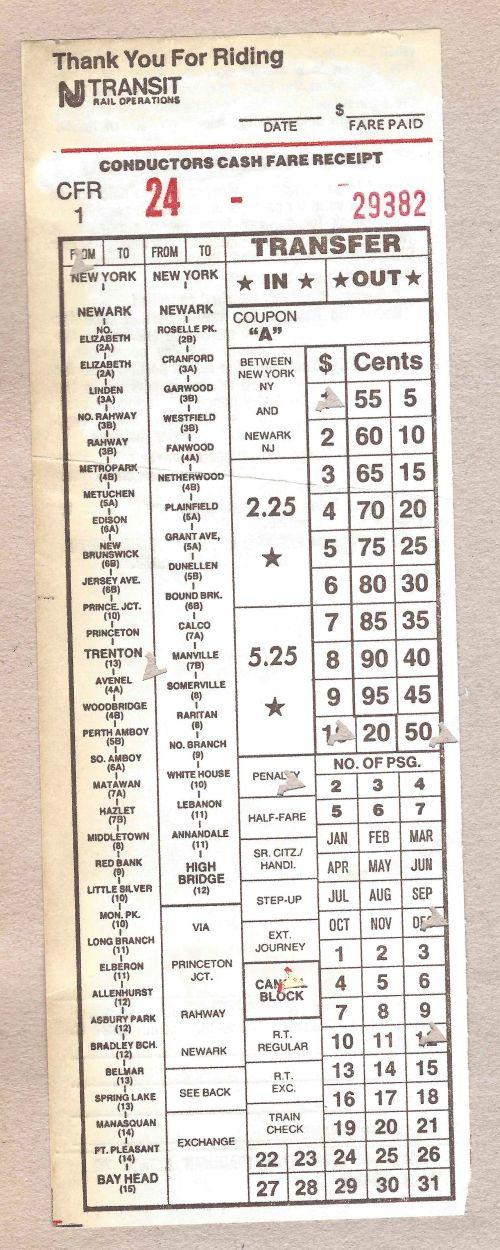 NJ Transit train ticket from NY Penn Station to Trenton by Kiera Reilly