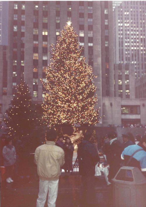 Christmas Tree in Rockefeller Center New York City December 1989 by Kiera Reilly