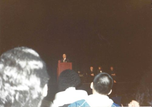 New York Governor Mario Cuomo speaks at the University of Pennsylvania in 1989 Irvine Auditorium