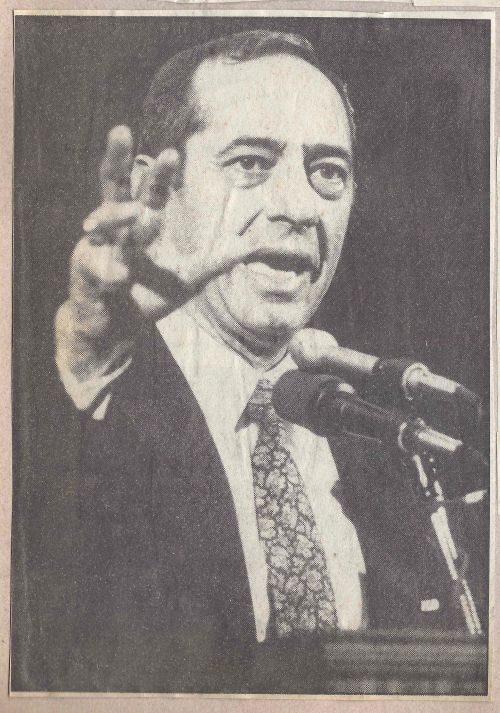 NY Governor Mario Cuomo speaks at Penn in 1989. Photo by Mike Johnson, The Daily Pennsylvanian