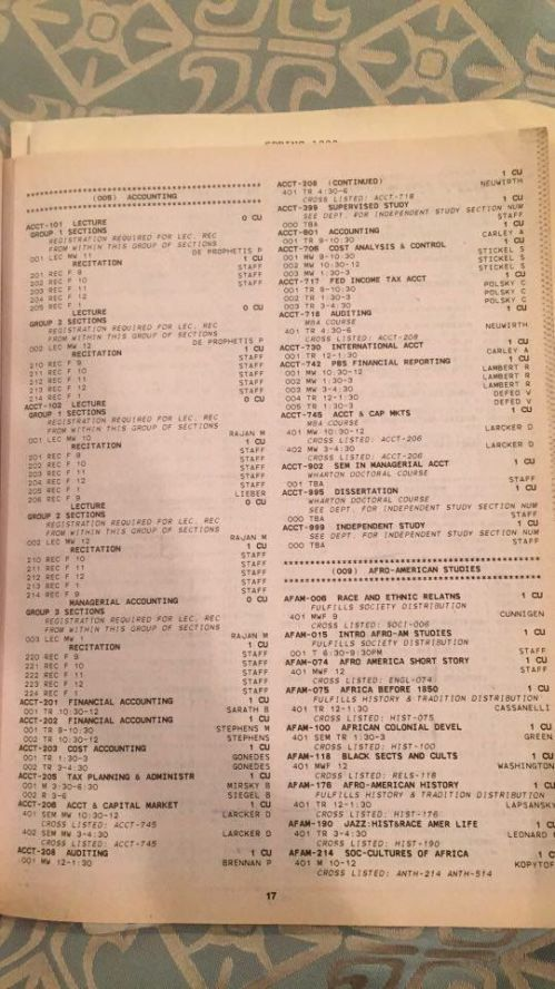 Class times course register for University of Pennsylvania Spring 1990