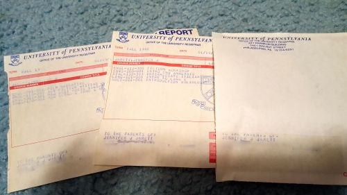 Penn grade reports sent to Jennifer Jarett in 1990 and 1991