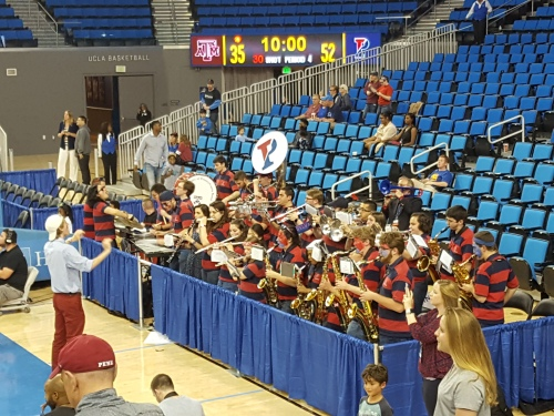 Penn Band plays at UCLA's Pauley Pavilion
