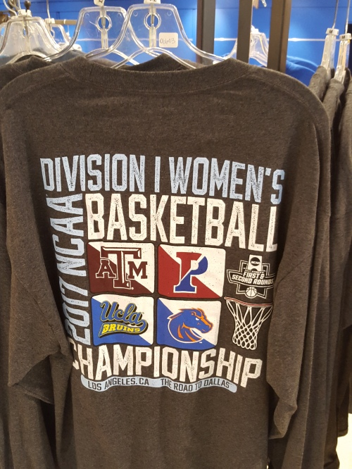NCAA Women's Basketball tournament first round t-shirts on sale at UCLA's Pauley Pavilion