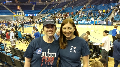 Penn Alumni Kiera Reilly and Lisa Niver at UCLA's Pauley Pavilion for the NCAA Women's Basketball Tournament
