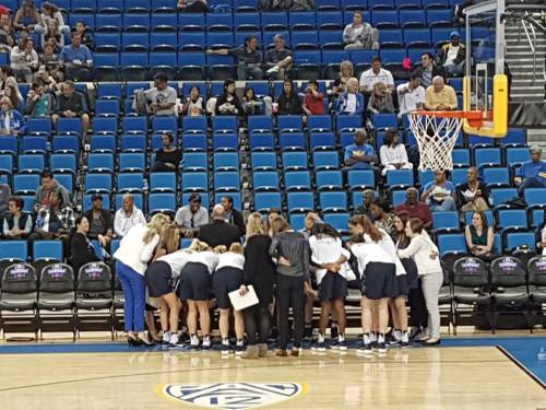 Penn Women's Basketball huddles during NCAA Women's Basketball tournament round 1 game