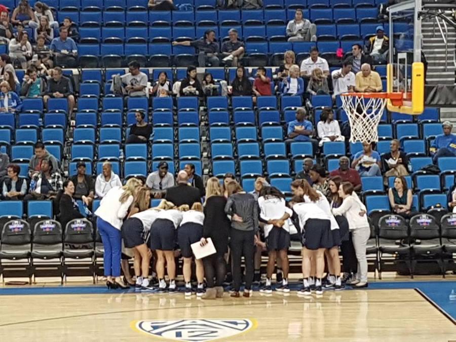 Penn Women's Basketball huddles during NCAA Women's Basketball tournament round 1 game