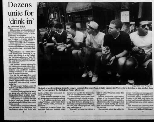 The Daily Pennsylvanian front page April 12, 1993 protesting the outdoor drinking ban at the Palladium