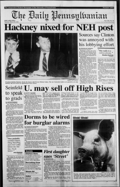 The March 30, 1993 front page of The Daily Pennsylvanian