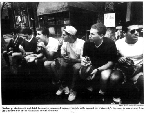Protesting the drinking ban at the Palladium, front page of the Daily Pennsylvanian, April 12, 1993