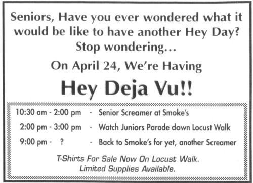 Hey Deja Vu ad in the Daily Pennsylvanian for the Class of 1992