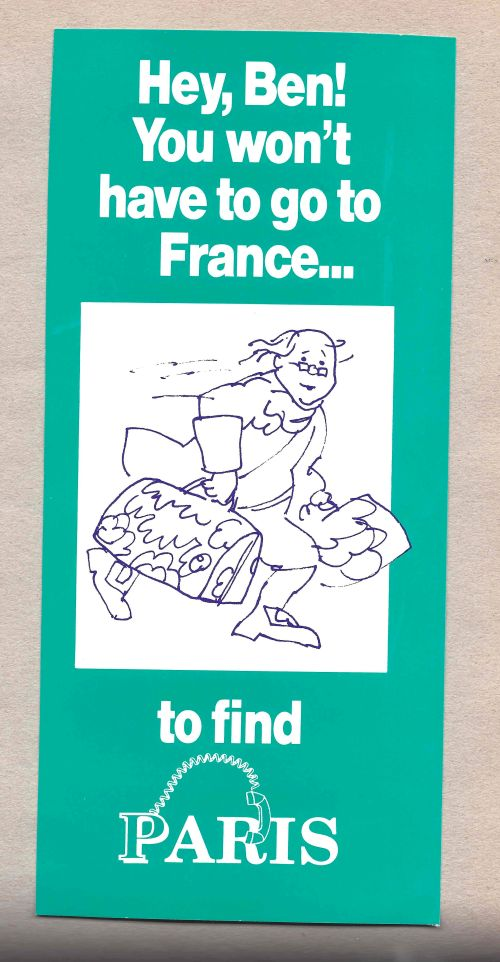Phone registration brochure for PARIS at Penn in 1990