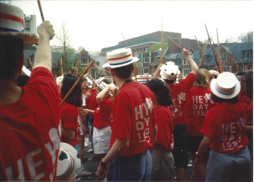 Hats and canes and red shirts take over the Quad. The Penn Class of 1993! Photo by Kiera Reilly