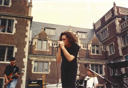 Lead singer of Chaos Theory in the Lower Quad for Spring Fling 1991