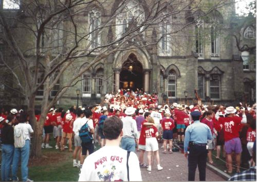The Penn Class of 1993 visits Penn President Sheldon Hackney at College Hall for Hey Day in April, 1992. Photo by Kiera Reilly