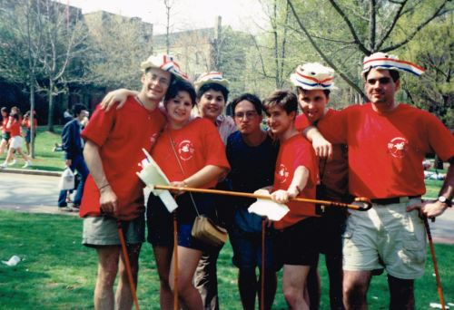 Hey Day on College Green, photo courtesy of Jeff Liebert, CAS'93 L - R: Justin Sowers, SEAS '93, Ebru Ural, W '93, Unknown Photobomber, Alan Steenstrup, CAS '92, Jeff Liebert, SEAS '93, David Haynes, SEAS '93, Howard Blecher, CAS '93