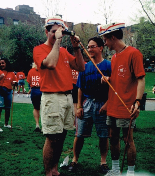 Hanging out on Hill Field, photo courtesy of Jeff Liebert, L-R Howard Blecher, CAS '93, Alan Steenstrup, CAS '92, Justin Sowers, SEAS '93