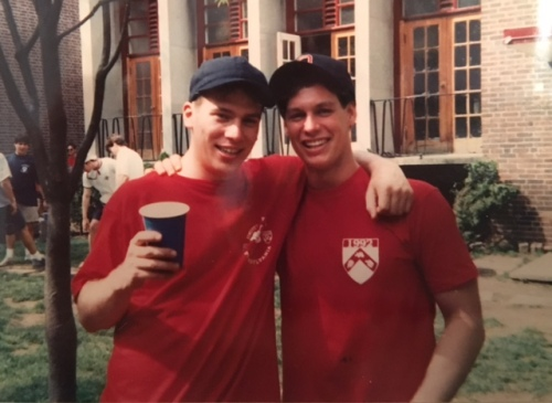 Frank Pugliese and Derek Denmead, celebrate Hey Day for the Class of 1993, photo courtesy of Zach Conen