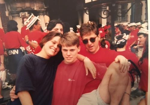 Anne Roma, Brad Essen, Dan Charney celebrate in the Quad, photo courtesy of Zach Conen, April 1992 at Penn