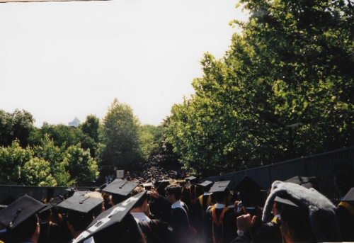 The Commencement Procession across the 38th Street Bridge and down Locust Walk, May 17, 1993. Photo by Lisa Nass Grabelle