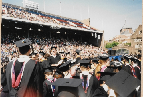 Graduates on Franklin Field for Commencement, May 17, 1993. Photo by Lisa Nass Grabelle