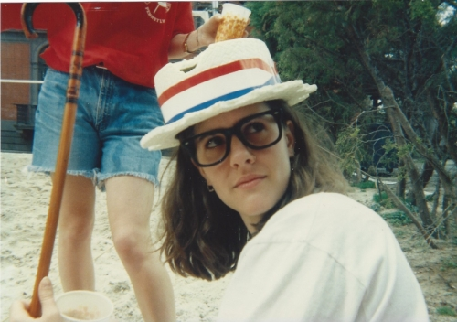 Hilary Davis, C'93, and some mystery legs with roomy jeans shorts, photo courtesy of Jessica Zirkel-Rubin