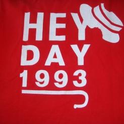 Back of our Hey Day shirt, Penn 1993, photo courtesy of Allison Davis Talibi
