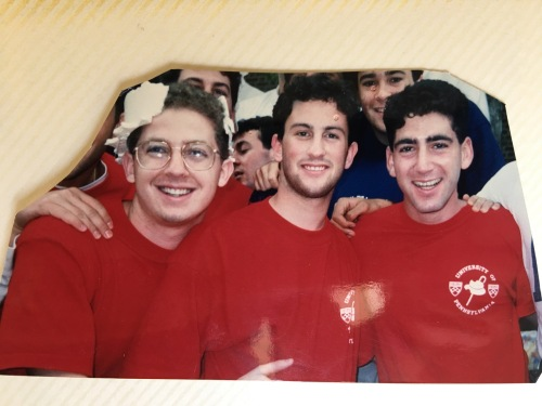 Josh Frank, Jef Pollock and Eric Palace celebrate Hey Day at Penn in April, 1992
