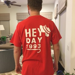 Josh Frank, C'93, wears his April 1992 Hey Day shirt for the Penn Class of 1993 in April 2017