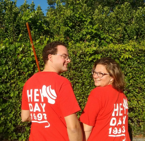 Justin Sowers, SEAS'93, and Ebru Ural, W'93, proudly wear their Hey Day shirts in 2017
