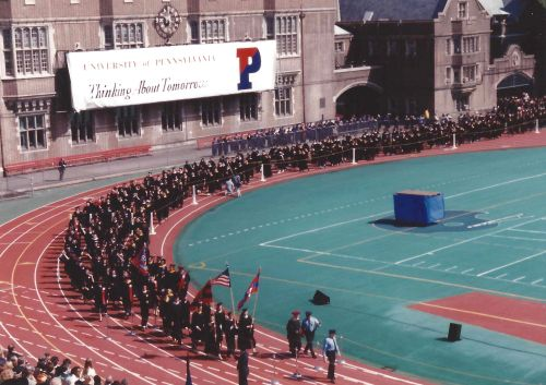 The Class of 1993 enters Franklin Field for Penn Commencement, May 17, 1993. Photo courtesy of Kiera Reilly, C'93
