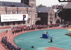 The Alumni Parade of classes enters Franklin Field for Penn Commencement, May 17, 1993. Photo courtesy of Kiera Reilly, C'93.