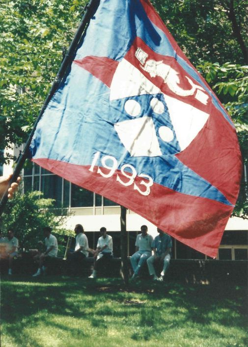 Penn 1993 class flag on Alumni Day at Penn, May 15, 1993.
