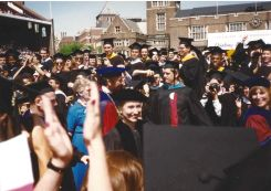 First Lady Hillary Clinton and Penn President Sheldon Hackney make their way to the Commencement stage.